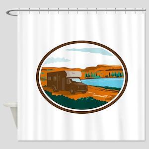 RV Camper Van Desert Scene Oval Retro Shower Curta