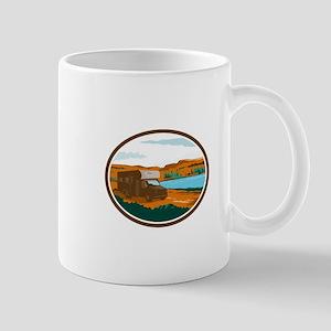 RV Camper Van Desert Scene Oval Retro Mugs