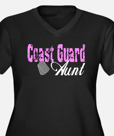 Coast Guard Aunt Women's Plus Size V-Neck Dark T-S