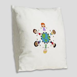 Children Around The World Burlap Throw Pillow