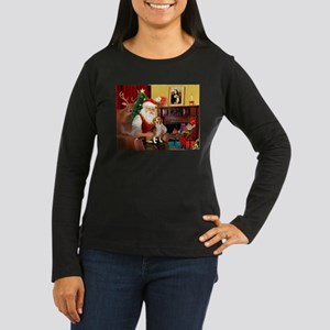 Santa's Beagle Women's Long Sleeve Dark T-Shirt