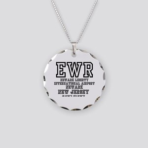 AIRPORT CODES - EWR - NEWARK Necklace Circle Charm