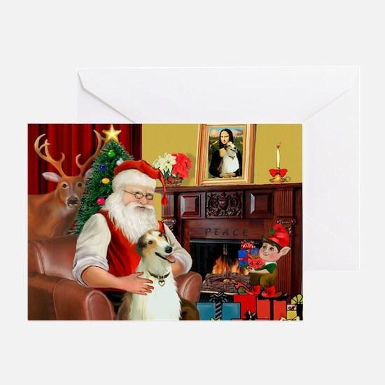 Santas Borzoi Greeting Card