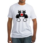 Black Cat Love Fitted T-Shirt