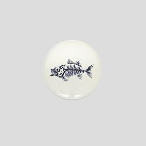 Mean Fish Skeleton Mini Button