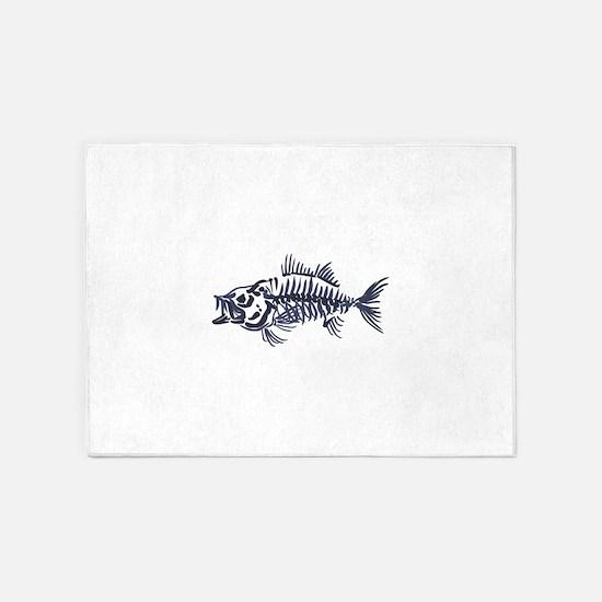 Mean Fish Skeleton 5'x7'Area Rug