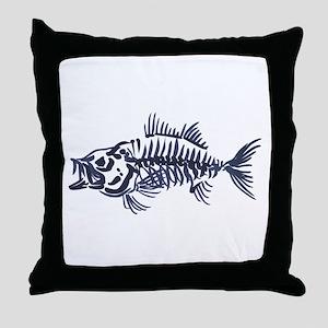 Mean Fish Skeleton Throw Pillow