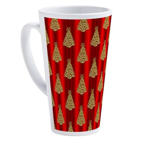 Gold Christmas Trees on Red 17 oz Latte Mug