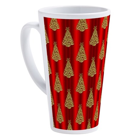 Gold Christmas Trees on Red 17 oz Latte Mug