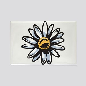 White Daisy Rectangle Magnet