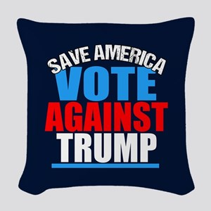 Vote Against Trump Woven Throw Pillow