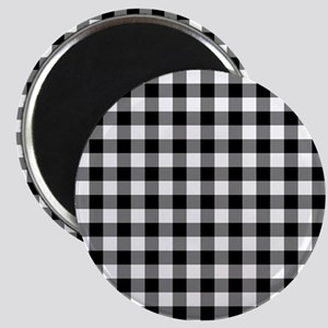 Black and White Gingham Checked Pattern Magnets