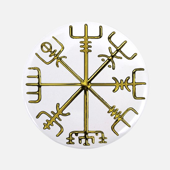 "Gold Vegvisir 3.5"" Button"