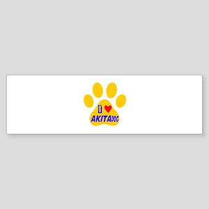I Love AkIta Dog Sticker (Bumper)