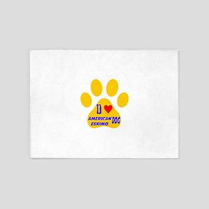I Love American Eskimo Dog 5'x7'Area Rug