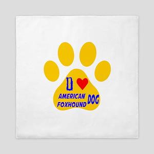 I Love American Foxhound Dog Queen Duvet