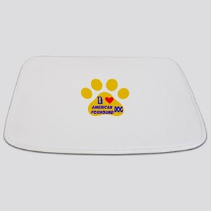 I Love American Foxhound Dog Bathmat