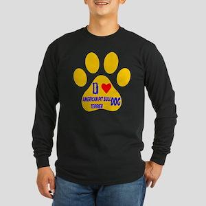 I Love American Pit Bull Long Sleeve Dark T-Shirt