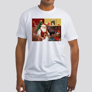 Santa's Collie Fitted T-Shirt