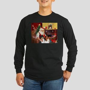 Santa's Collie pair Long Sleeve Dark T-Shirt