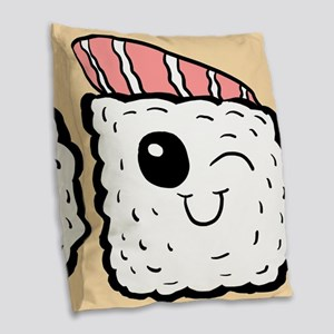 Cute Sushi Burlap Throw Pillow