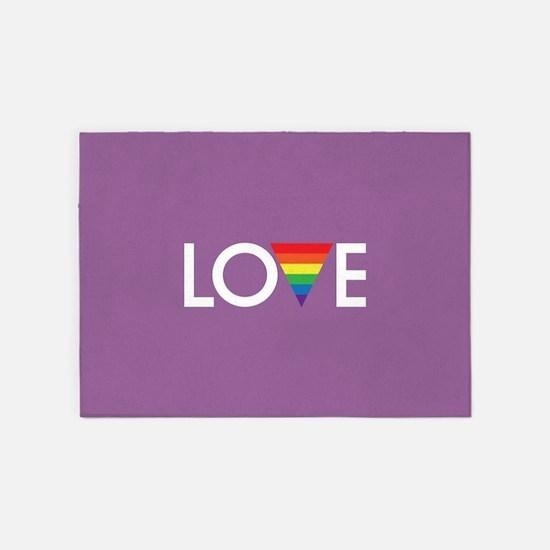LOVE - Gay Pride Full Bleed 5'x7'Area Rug