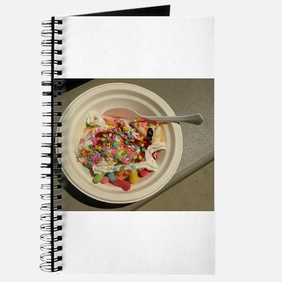 sundae with ice cream and gummi worms Journal