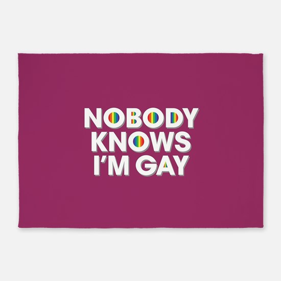 Nobody Knows I'm Gay Full Bleed 5'x7'Area Rug