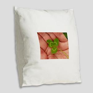 clover in hand macro Burlap Throw Pillow