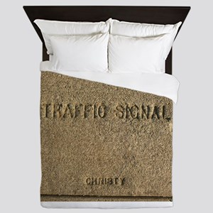old traffic signal cover Queen Duvet