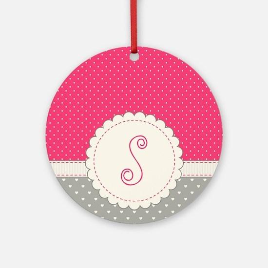 Cute Monogram Letter S Round Ornament