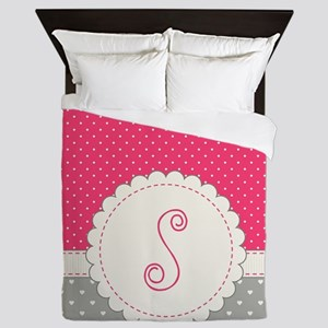 Cute Monogram Letter S Queen Duvet