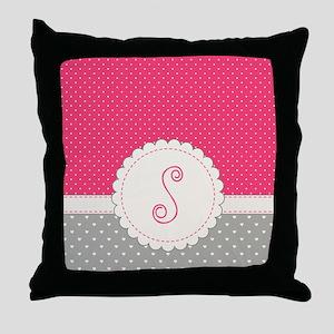 Cute Monogram Letter S Throw Pillow
