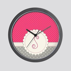 Cute Monogram Letter S Wall Clock