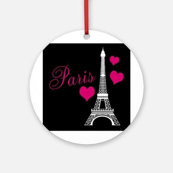 Paris Eiffel Tower in Black Round Ornament
