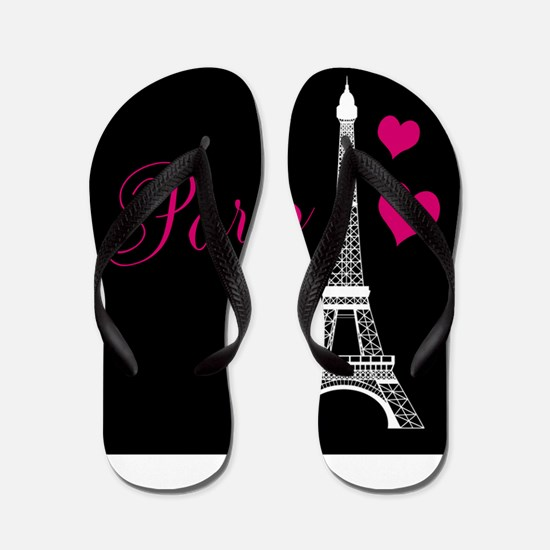 Paris Eiffel Tower in Black Flip Flops