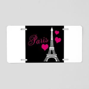 Paris Eiffel Tower in Black Aluminum License Plate