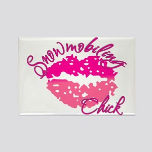 Snowmobiling Chick Rectangle Magnet