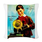 The Edison Phonograph Woven Throw Pillow