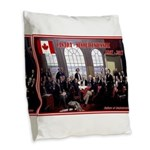 Canadian Sesquicentennial Print Burlap Throw Pillo