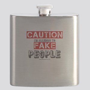 Caution I'm Allergic To Fake People Flask