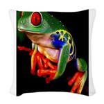 Colorful Frog Woven Throw Pillow
