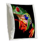 Colorful Frog Burlap Throw Pillow