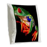Colorful Frog Burlap Throw Pillow
