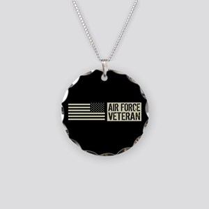 U.S. Air Force: Veteran (Bla Necklace Circle Charm
