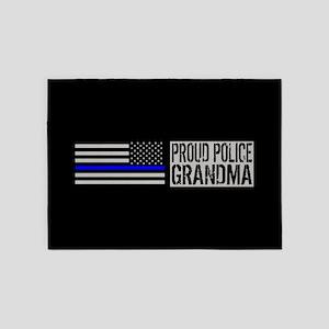 Police: Proud Grandma (Black Flag, 5'x7'Area Rug