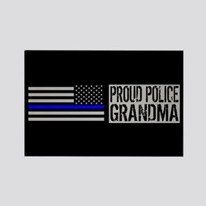 Police: Proud Grandma (Black Flag Rectangle Magnet