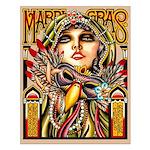 Mardi Gras Mask and Beautiful Woman Small Poster