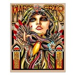 Mardi Gras Mask and Beautiful Woman Small Poster