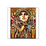 Mardi Gras Mask and Beautiful Woman Sticker
